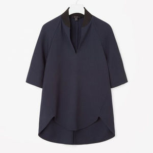 COS Navy/Black Wool Crepe Dress Top